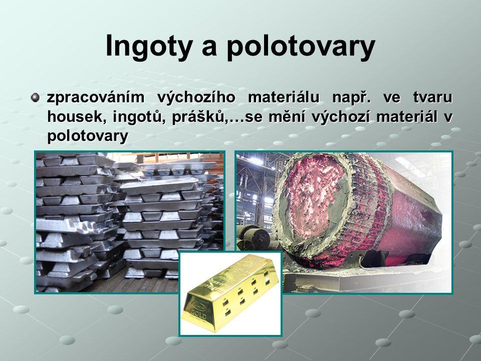 Ingoty a polotovary zpracováním výchozího materiálu např.