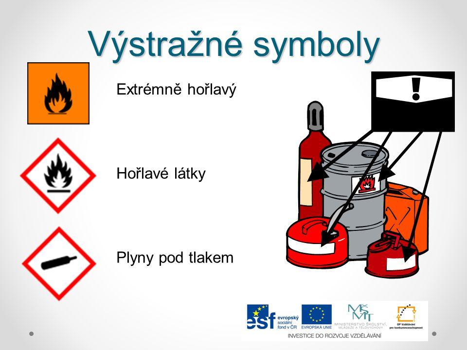 Výstražné symboly Extrémně hořlavý Hořlavé látky Plyny pod tlakem
