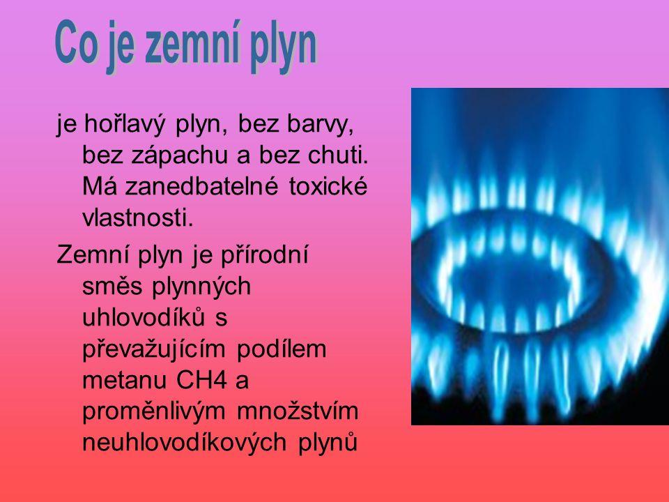 Co je zemní plyn je hořlavý plyn, bez barvy, bez zápachu a bez chuti. Má zanedbatelné toxické vlastnosti.