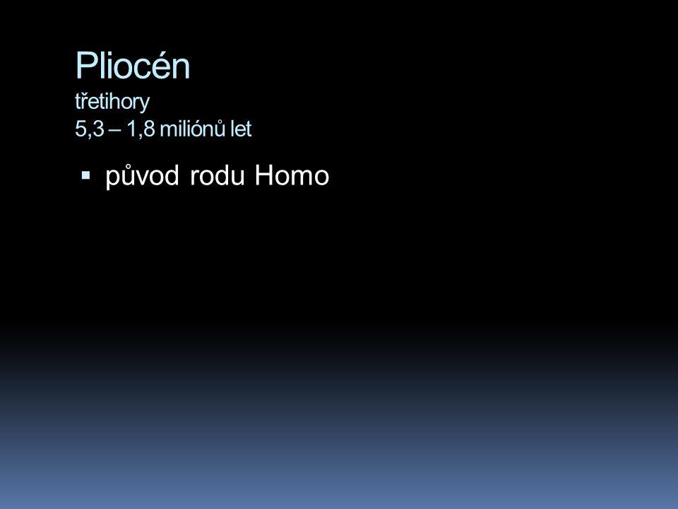Pliocén třetihory 5,3 – 1,8 miliónů let