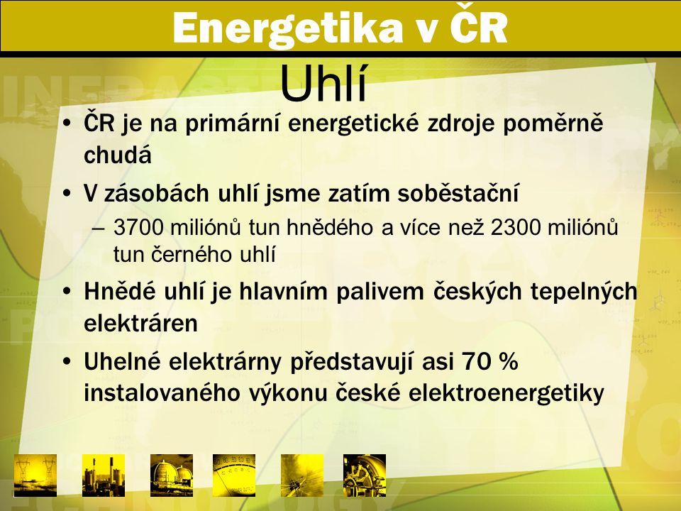 Energetika v ČR Uhlí. ČR je na primární energetické zdroje poměrně chudá. V zásobách uhlí jsme zatím soběstační.
