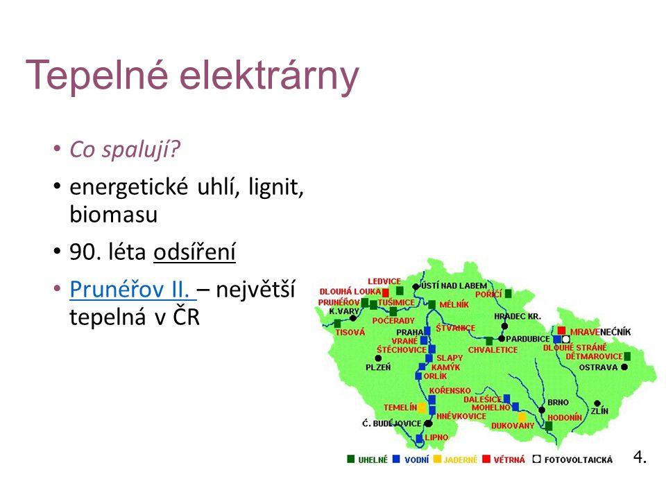 Tepelné elektrárny Co spalují energetické uhlí, lignit, biomasu