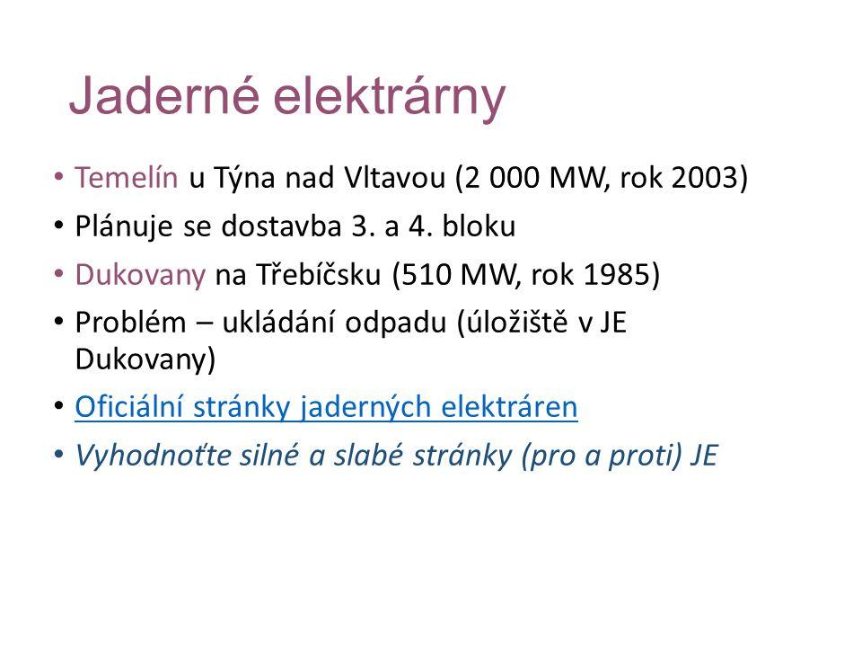 Jaderné elektrárny Temelín u Týna nad Vltavou (2 000 MW, rok 2003)