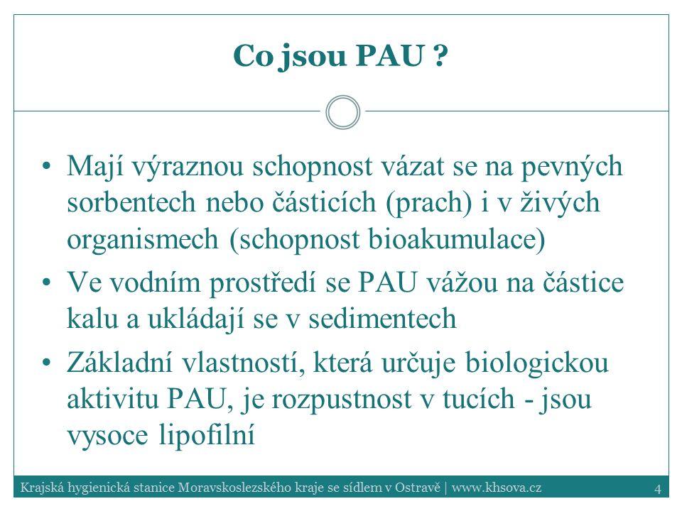 Co jsou PAU Mají výraznou schopnost vázat se na pevných sorbentech nebo částicích (prach) i v živých organismech (schopnost bioakumulace)
