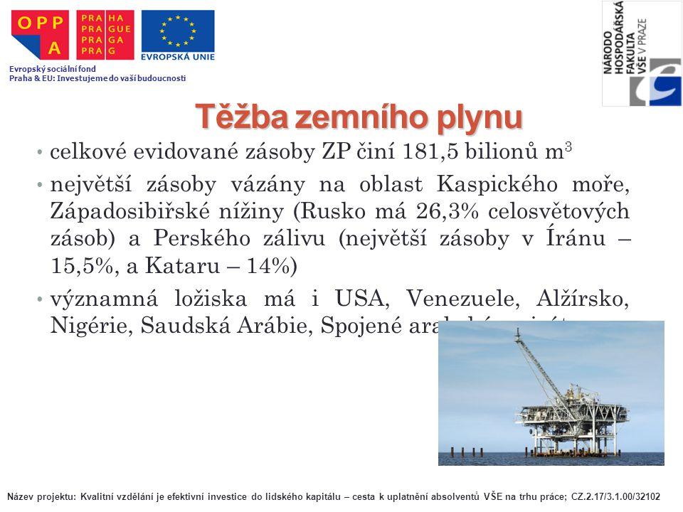 Těžba zemního plynu celkové evidované zásoby ZP činí 181,5 bilionů m3