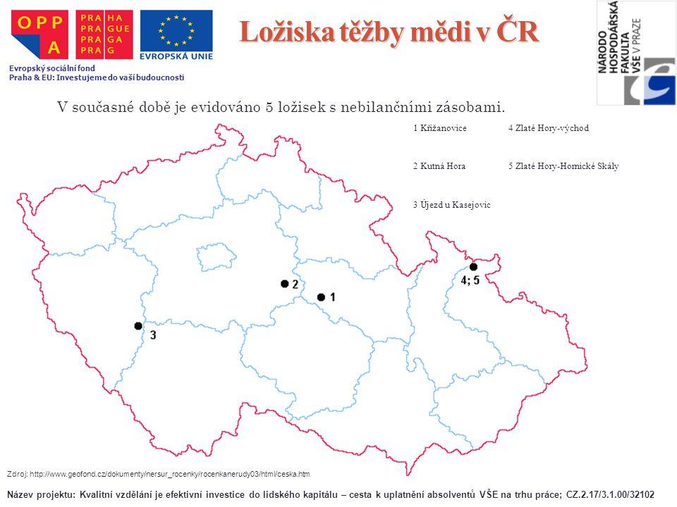 Ložiska těžby mědi v ČR Evropský sociální fond. Praha & EU: Investujeme do vaší budoucnosti.