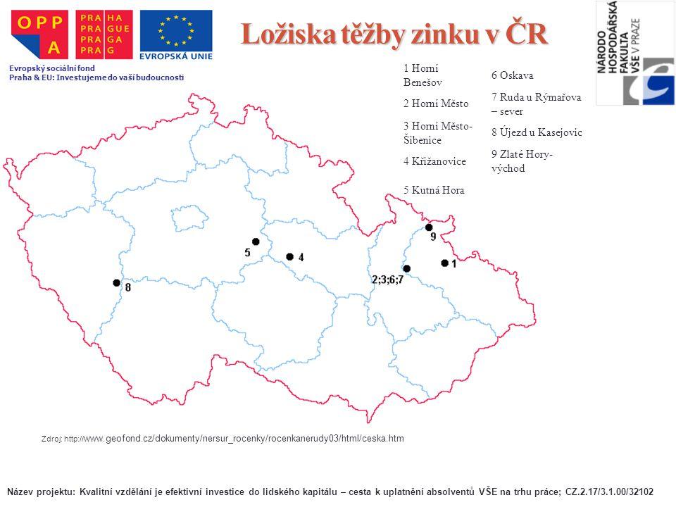 Ložiska těžby zinku v ČR