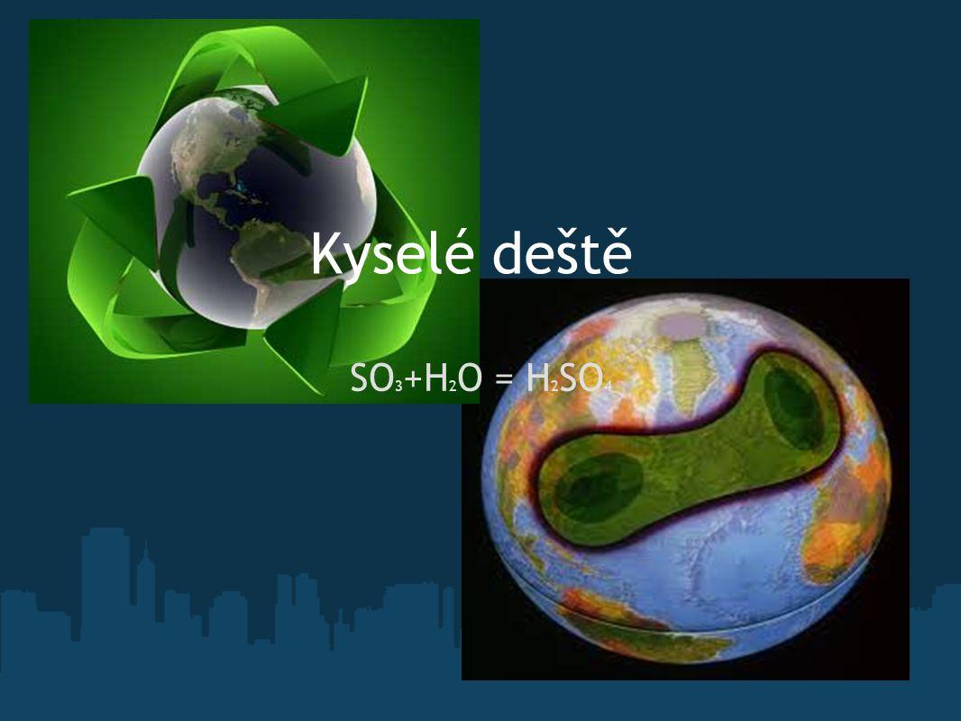 Kyselé deště SO3+H2O = H2SO4 ZKOUŠKA