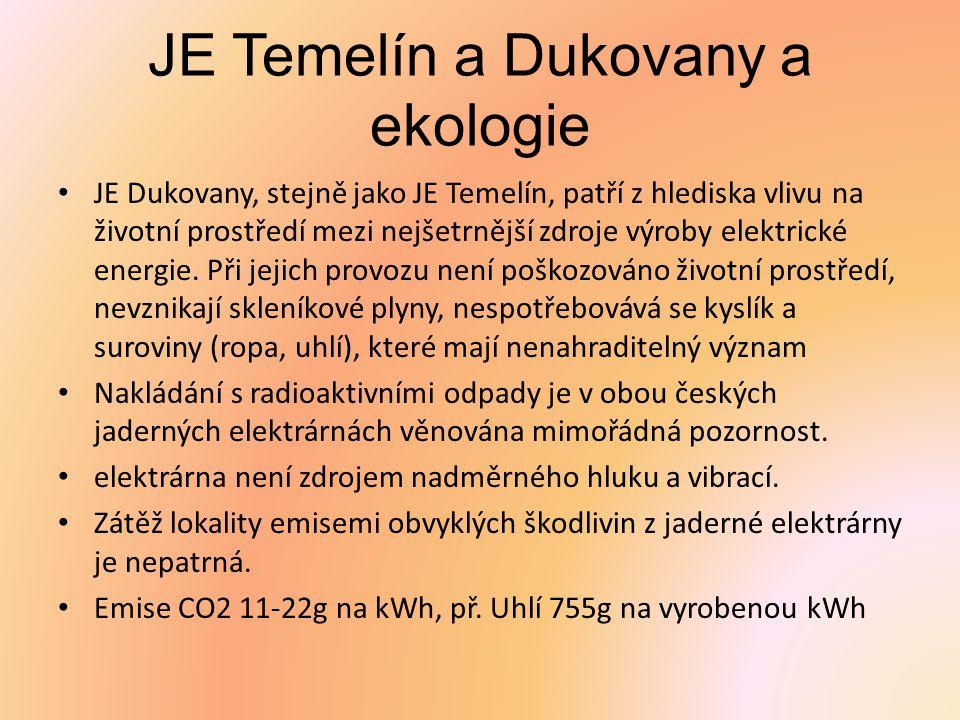 JE Temelín a Dukovany a ekologie