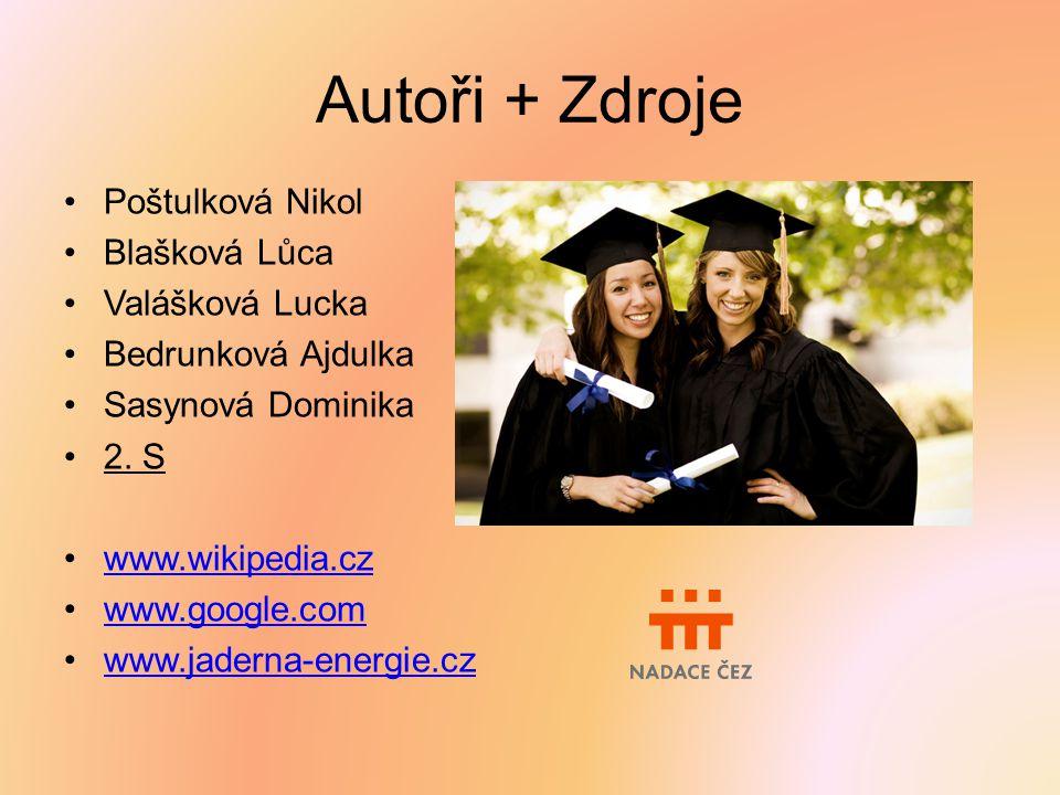 Autoři + Zdroje Poštulková Nikol Blašková Lůca Valášková Lucka