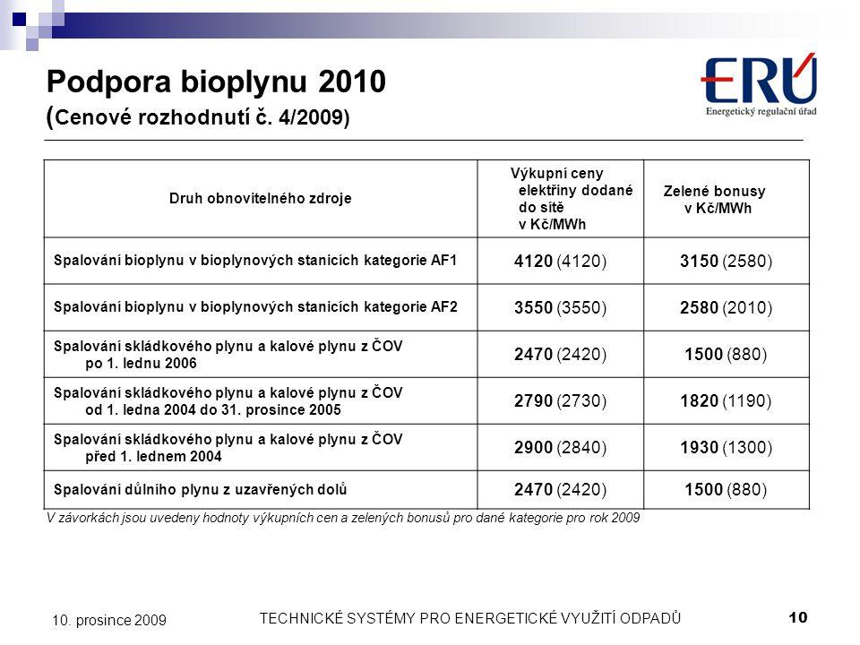 Podpora bioplynu 2010 (Cenové rozhodnutí č. 4/2009)