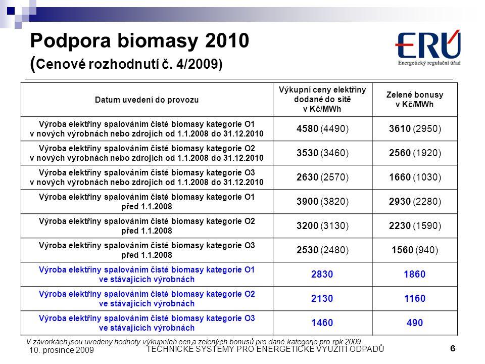 Podpora biomasy 2010 (Cenové rozhodnutí č. 4/2009)