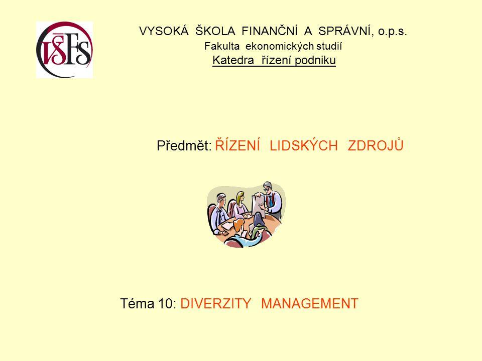 Předmět: ŘÍZENÍ LIDSKÝCH ZDROJŮ Téma 10: DIVERZITY MANAGEMENT