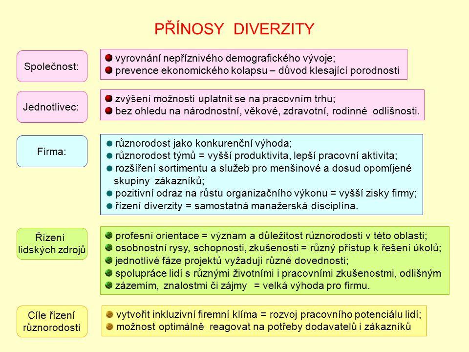 PŘÍNOSY DIVERZITY vyrovnání nepříznivého demografického vývoje;