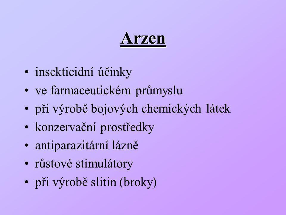 Arzen insekticidní účinky ve farmaceutickém průmyslu