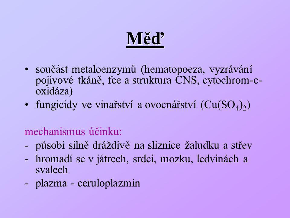 Měď součást metaloenzymů (hematopoeza, vyzrávání pojivové tkáně, fce a struktura CNS, cytochrom-c-oxidáza)