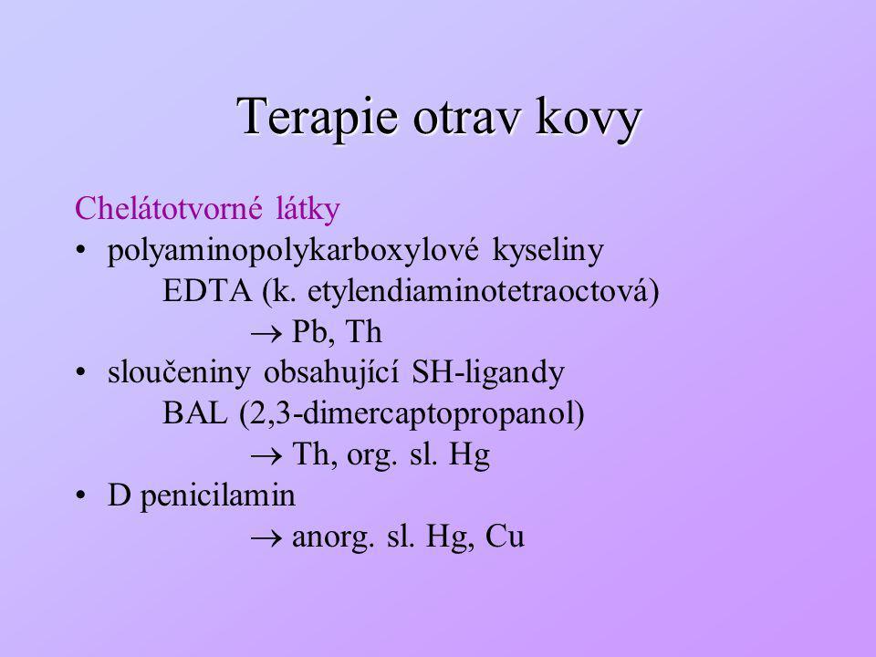 Terapie otrav kovy Chelátotvorné látky