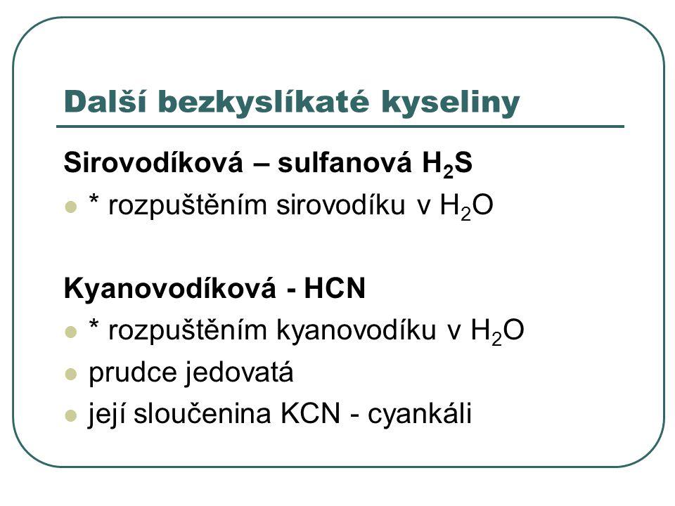 Další bezkyslíkaté kyseliny
