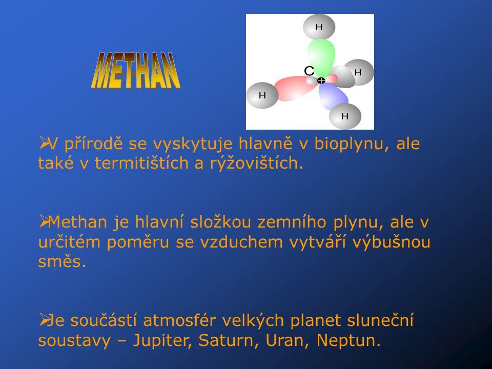 METHAN V přírodě se vyskytuje hlavně v bioplynu, ale také v termitištích a rýžovištích.