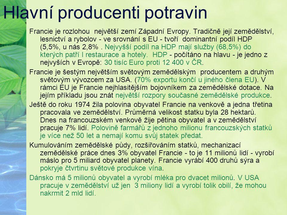 Hlavní producenti potravin