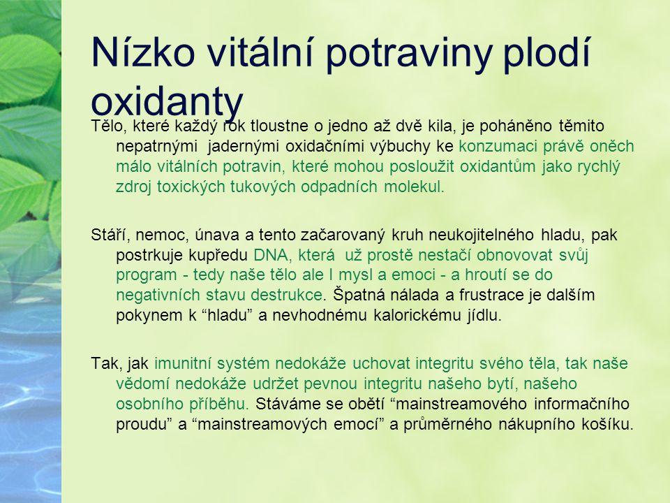 Nízko vitální potraviny plodí oxidanty
