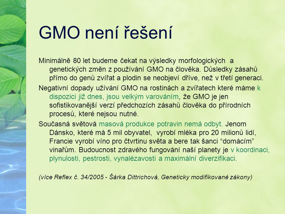 GMO není řešení
