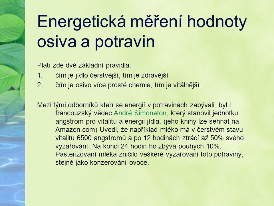 Energetická měření hodnoty osiva a potravin