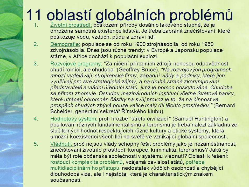 11 oblastí globálních problémů