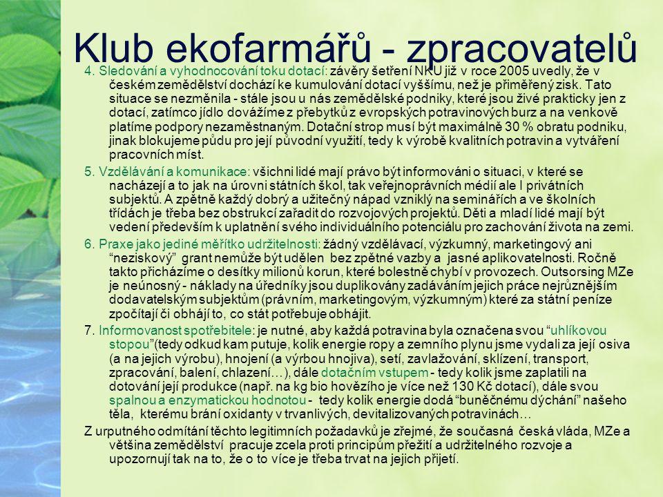 Klub ekofarmářů - zpracovatelů