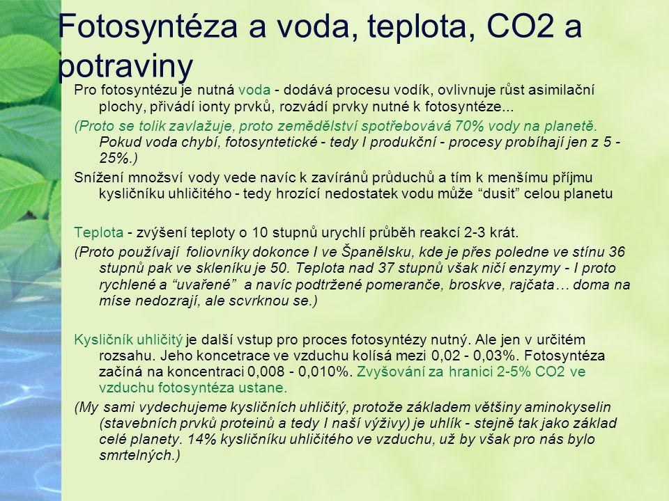 Fotosyntéza a voda, teplota, CO2 a potraviny