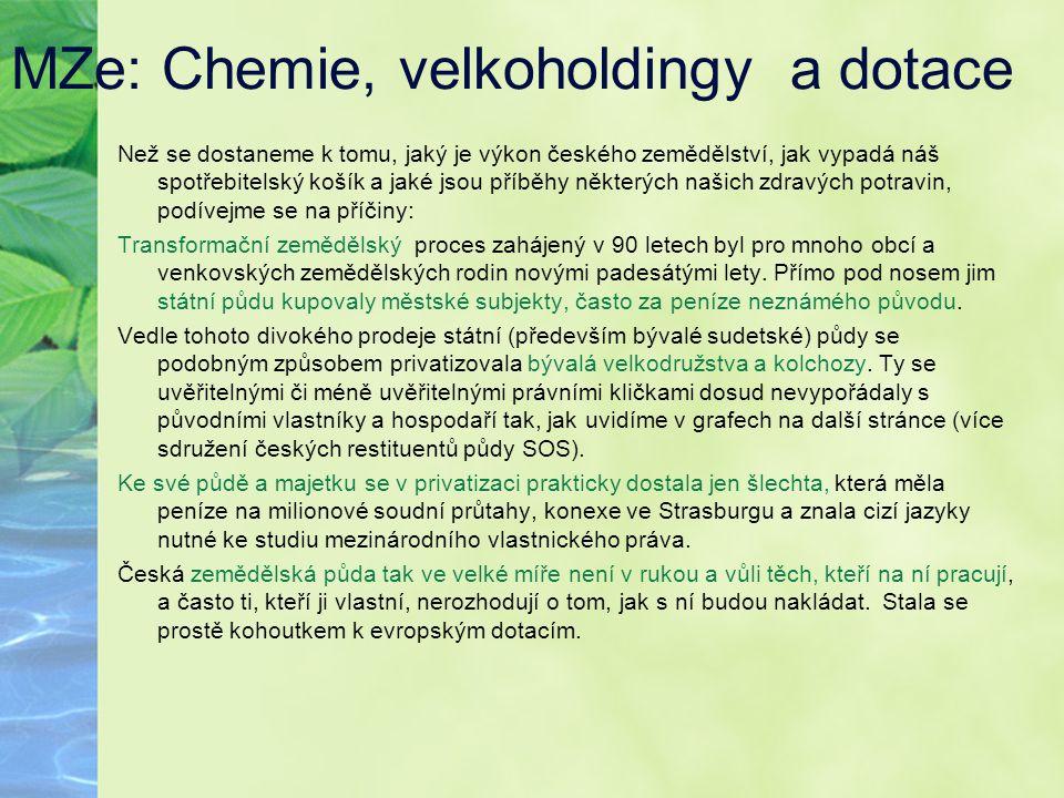 MZe: Chemie, velkoholdingy a dotace
