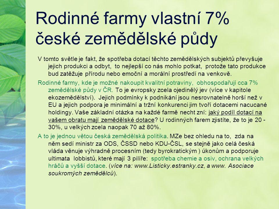 Rodinné farmy vlastní 7% české zemědělské půdy