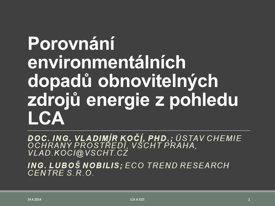 Porovnání environmentálních dopadů obnovitelných zdrojů energie z pohledu LCA