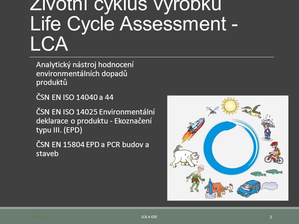 Životní cyklus výrobku Life Cycle Assessment - LCA