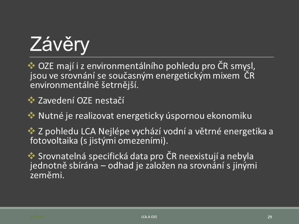 Závěry OZE mají i z environmentálního pohledu pro ČR smysl, jsou ve srovnání se současným energetickým mixem ČR environmentálně šetrnější.
