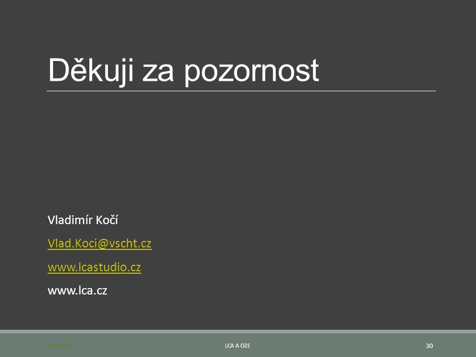 Děkuji za pozornost Vladimír Kočí Vlad.Koci@vscht.cz www.lcastudio.cz