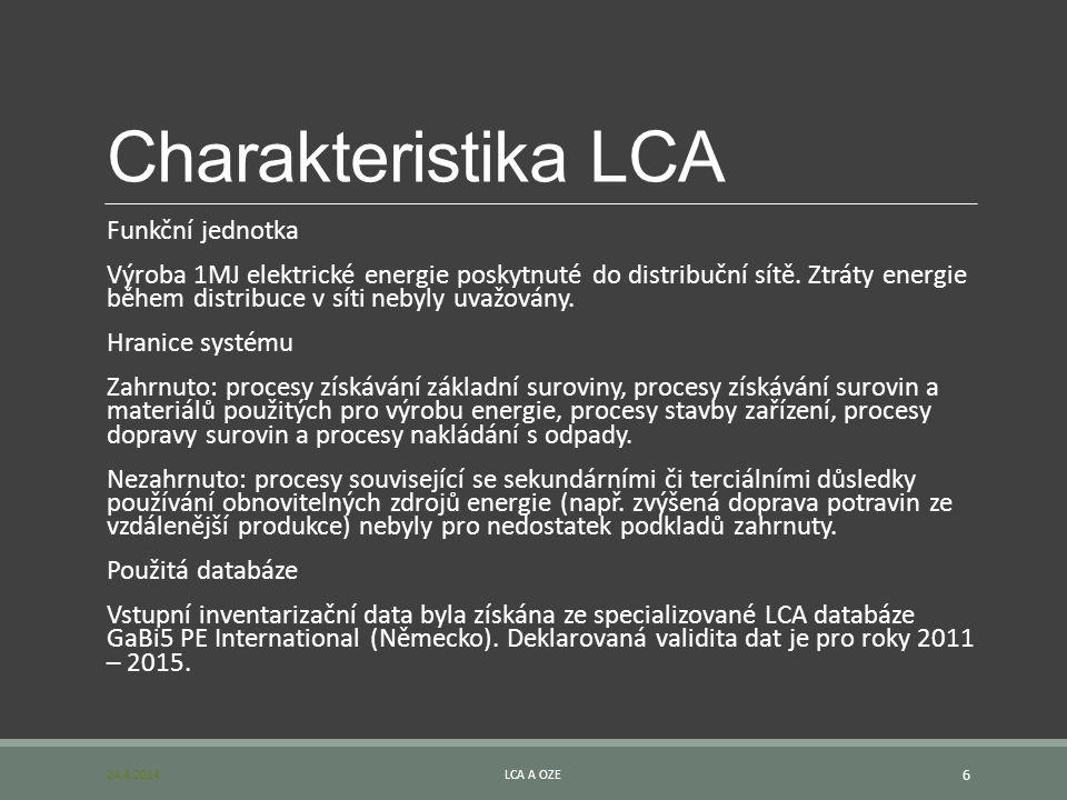 Charakteristika LCA Funkční jednotka