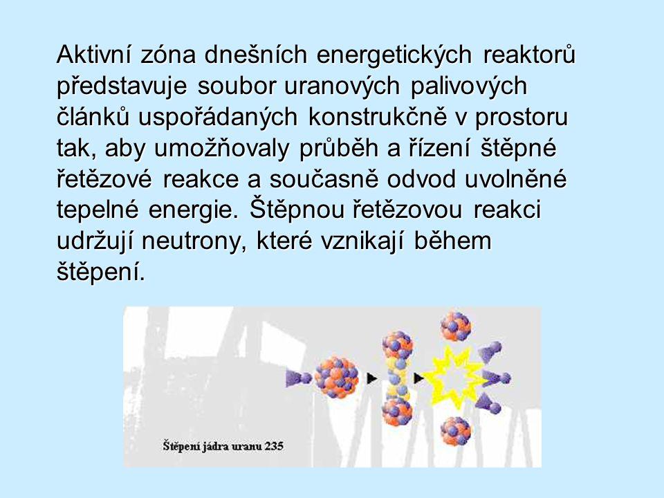 Aktivní zóna dnešních energetických reaktorů představuje soubor uranových palivových článků uspořádaných konstrukčně v prostoru tak, aby umožňovaly průběh a řízení štěpné řetězové reakce a současně odvod uvolněné tepelné energie.