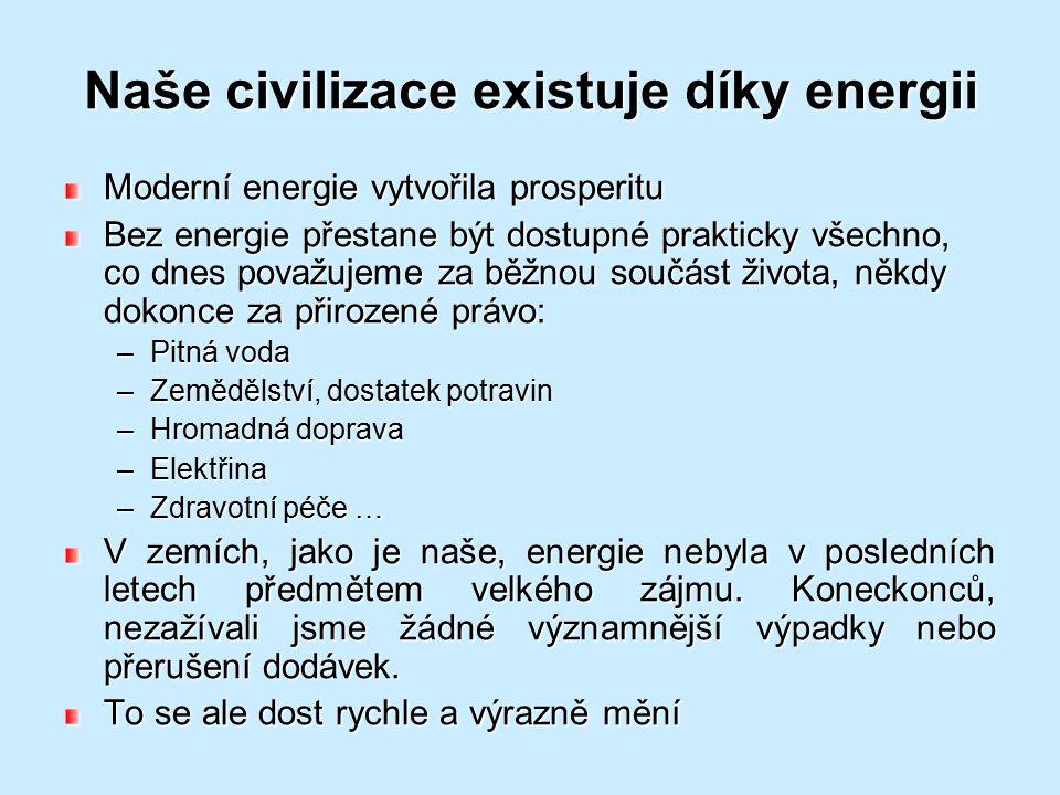 Naše civilizace existuje díky energii
