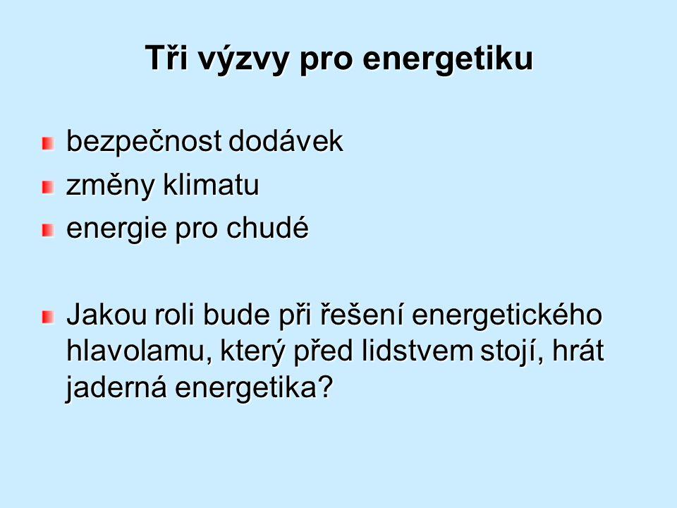 Tři výzvy pro energetiku