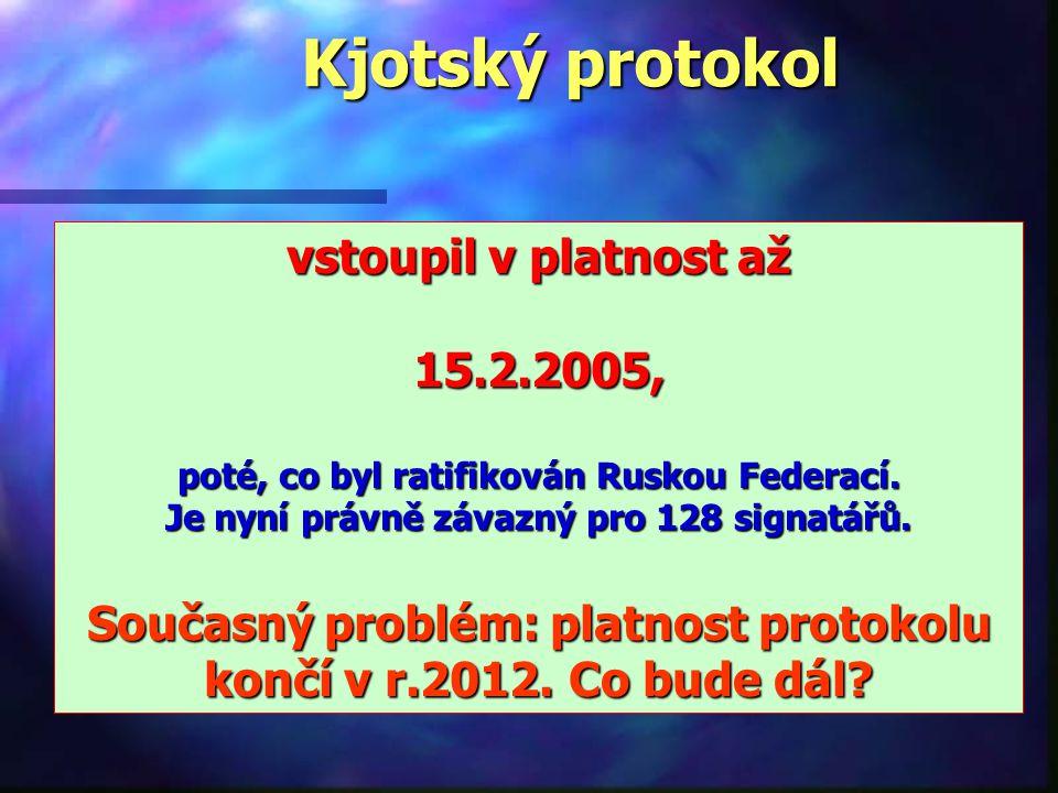 Kjotský protokol vstoupil v platnost až 15.2.2005,