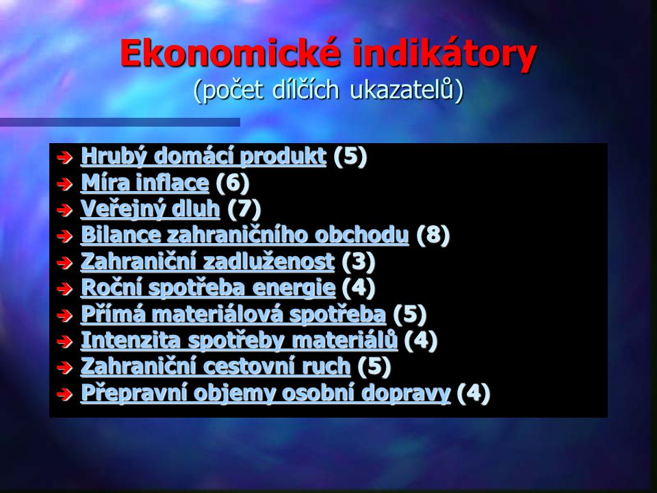 Ekonomické indikátory (počet dílčích ukazatelů)