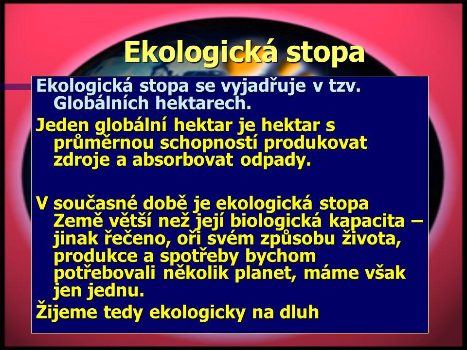 Ekologická stopa Ekologická stopa se vyjadřuje v tzv. Globálních hektarech.