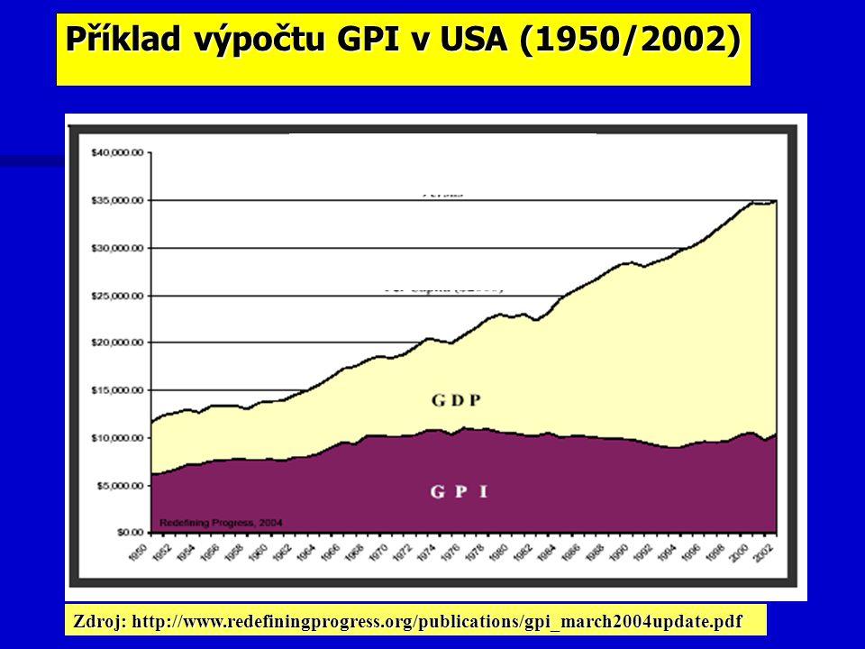 Příklad výpočtu GPI v USA (1950/2002)
