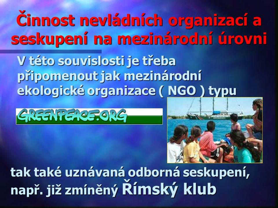 Činnost nevládních organizací a seskupení na mezinárodní úrovni