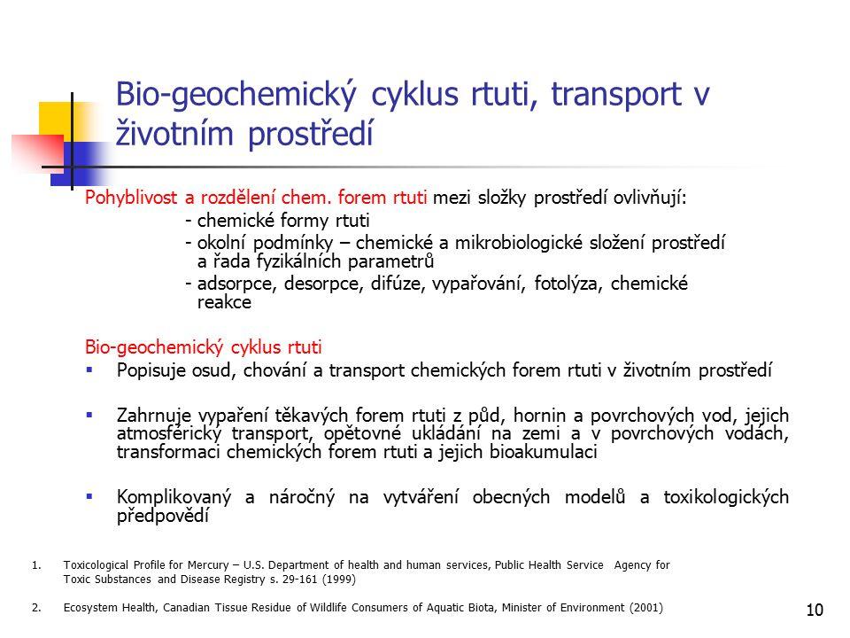 Bio-geochemický cyklus rtuti, transport v životním prostředí