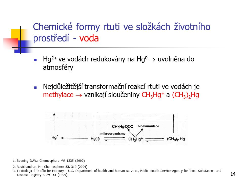 Chemické formy rtuti ve složkách životního prostředí - voda