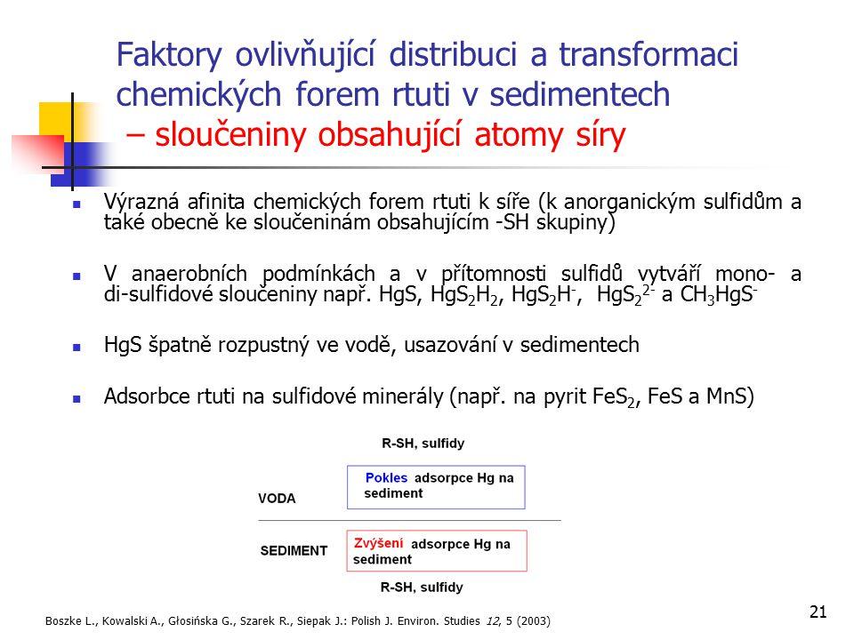 Faktory ovlivňující distribuci a transformaci chemických forem rtuti v sedimentech – sloučeniny obsahující atomy síry