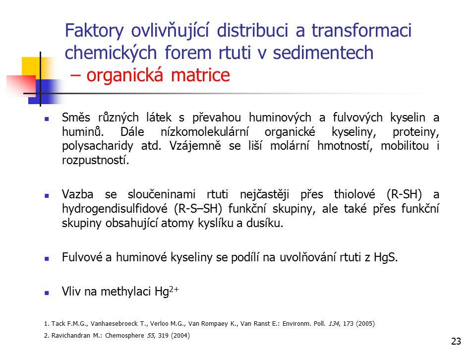 Faktory ovlivňující distribuci a transformaci chemických forem rtuti v sedimentech – organická matrice