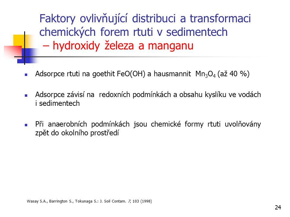 Faktory ovlivňující distribuci a transformaci chemických forem rtuti v sedimentech – hydroxidy železa a manganu